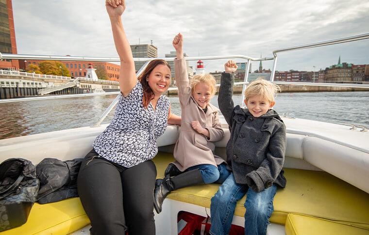 Family enjoying tour